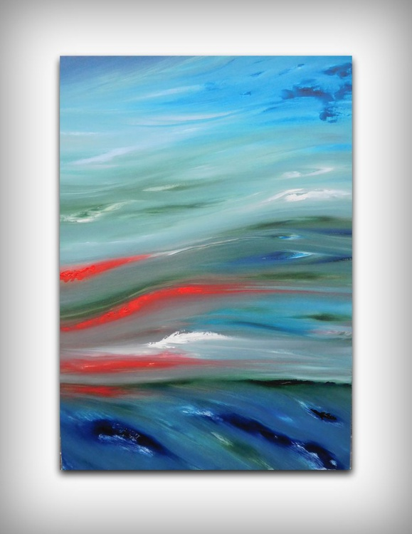 Glow sea - 50x70 cm,  Original abstract painting, oil on canvas - Image 0