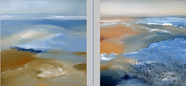The sea touching the beach (diptych) - Image 0
