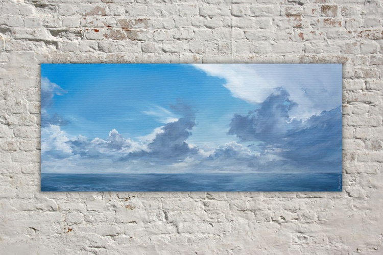 Original artwork Cloudscape, Rainy clouds, seascape,Cloudy weather - Image 0