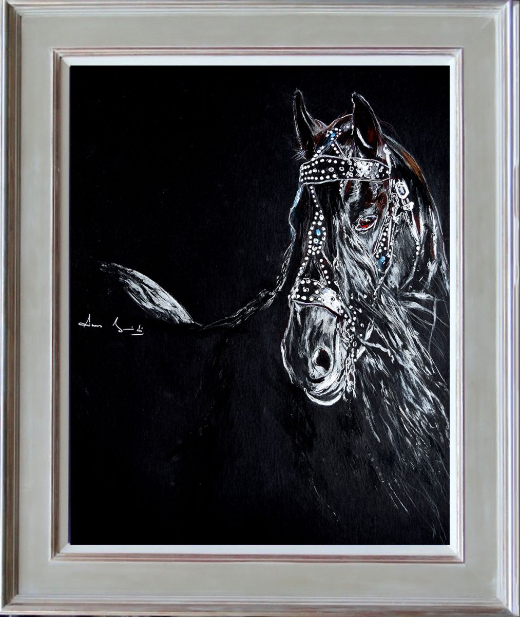 Wall Art Black Horse : On black horse head equine art modern contemporary wall