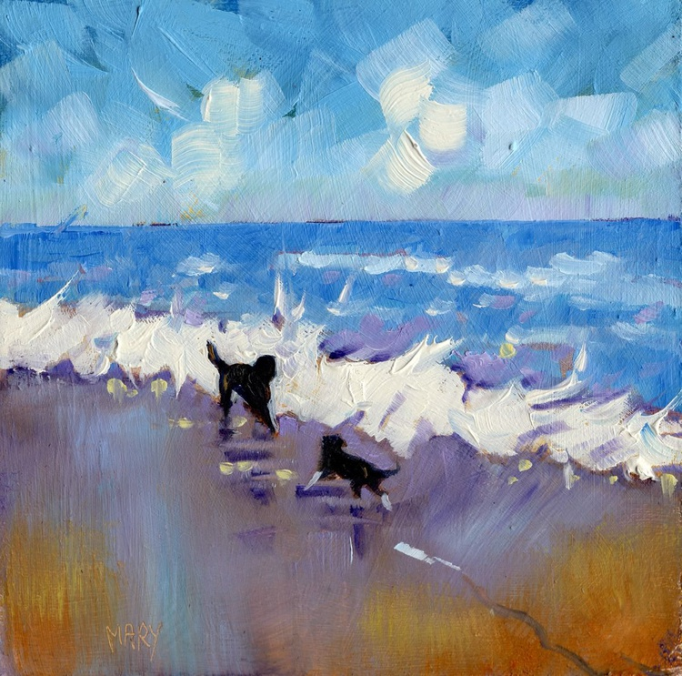 Two Dogs in the Surf. Small Impressionist Oil Painting. - Image 0