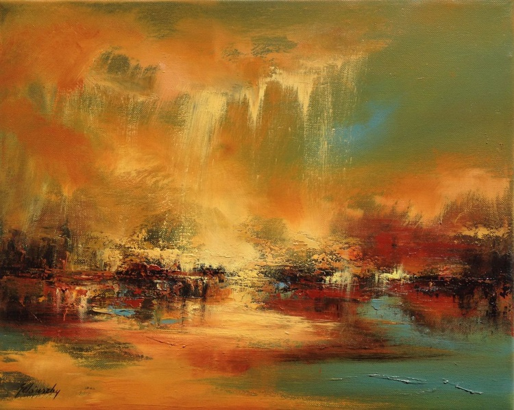 Golden Dust - 40 x 50 cm, abstract landscape oil painting, earth tone colours - Image 0
