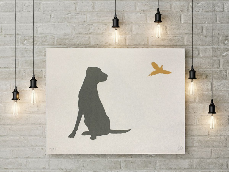 LABRADOR AND PHEASANT-unframed- FREE WORLDWIDE DELIVERY - Image 0