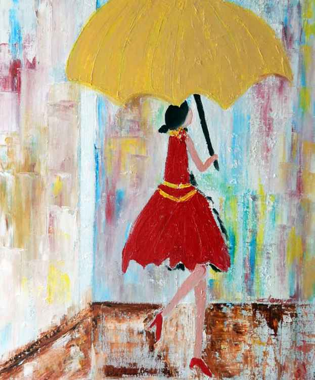 OP-049 Lady Walking in the Rain -