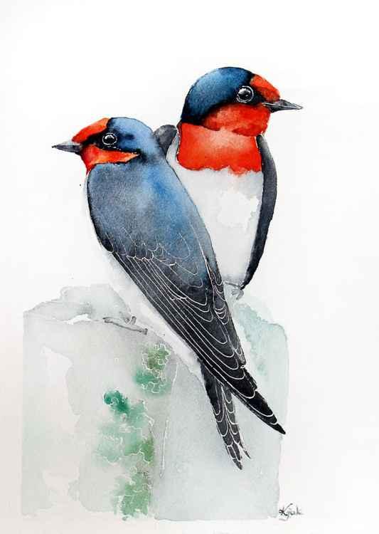 swallows -Original watercolors painting