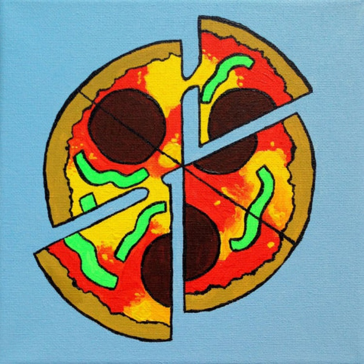 Pop Art Pizza Painting On Canvas - Image 0