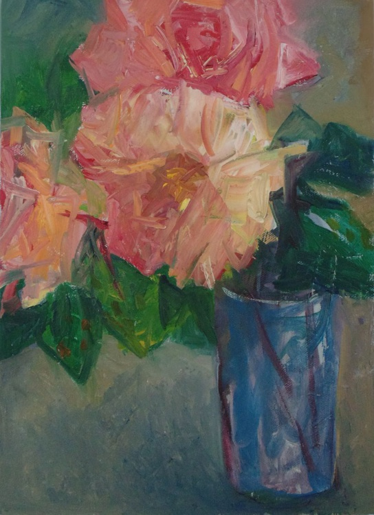 Rose in the blue glass - Image 0