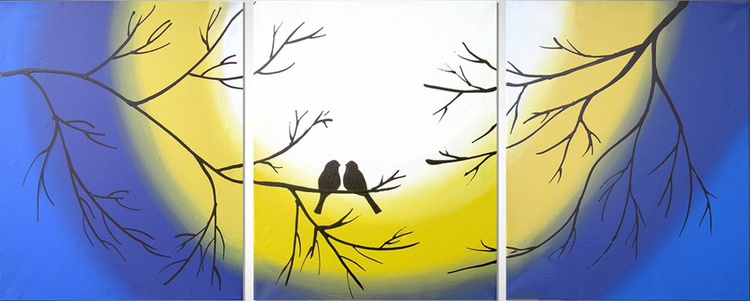 "original love bird abstract landscape ""Forever Together"" painting art canvas - 48 x 20 inches romance 3 other sizes available - Image 0"