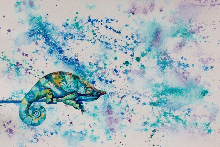 Chameleon in Aqua and Teal - Image 0