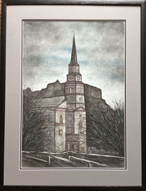 St Cuthberts Cathedral in front of Edinburgh Castle FRAMED ORIGINAL - Image 0