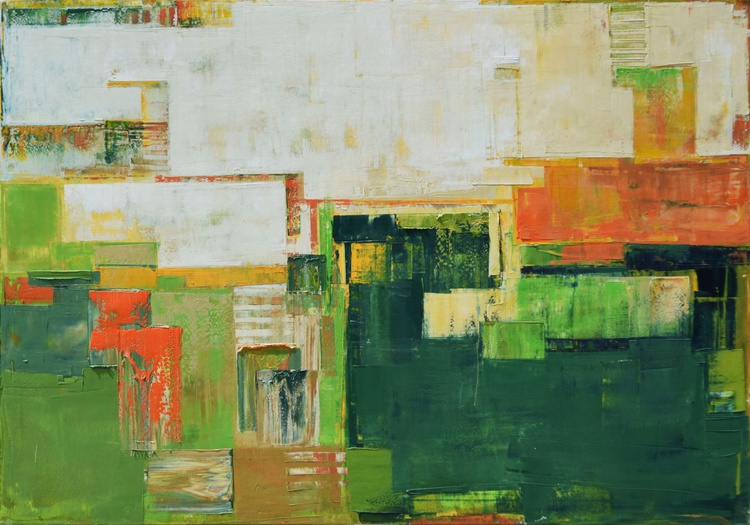 """Abstract painting """"Landscape 25"""". 100/70cm Oil painting on cotton canvas. Unique impasto texture. 100/70 cm - Image 0"""