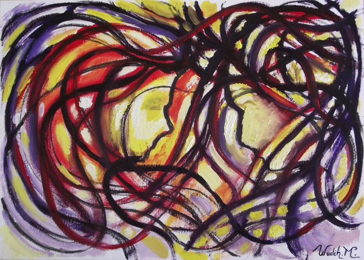 MEETING IN THE WIND - Double Figure Abstract Painting - 29.5x42 cm - Image 0