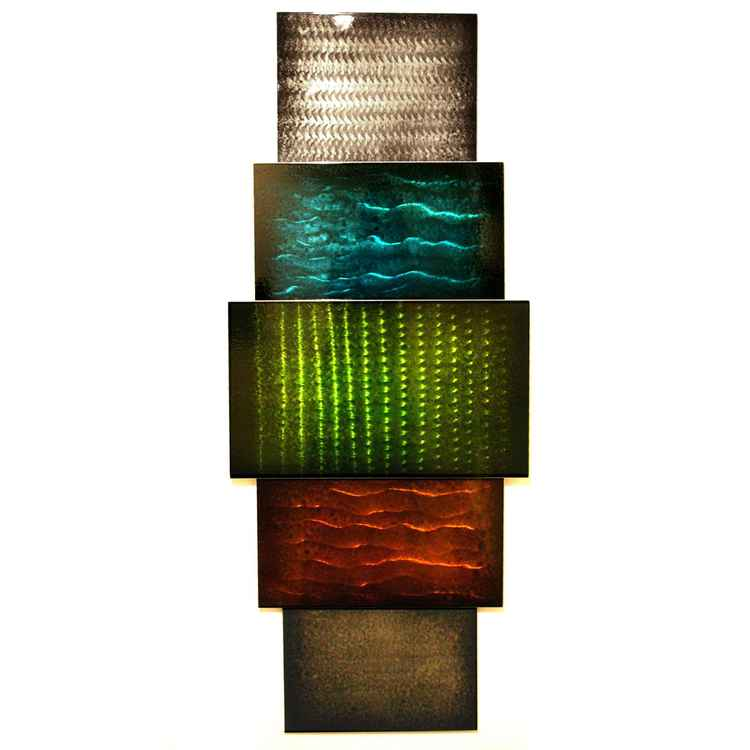 Pixelated Landscape | Abstract Wall Sculpture - Contemporary Metal Artwork - Colorful Metallic Decor - Industrial Urban Wall Art -
