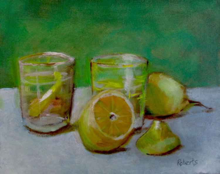 Still life with drinks and lemons