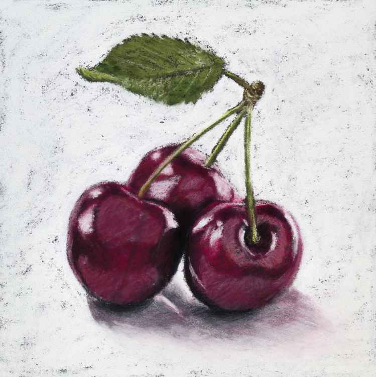 "Original pastel drawing ""Cherries"" -"