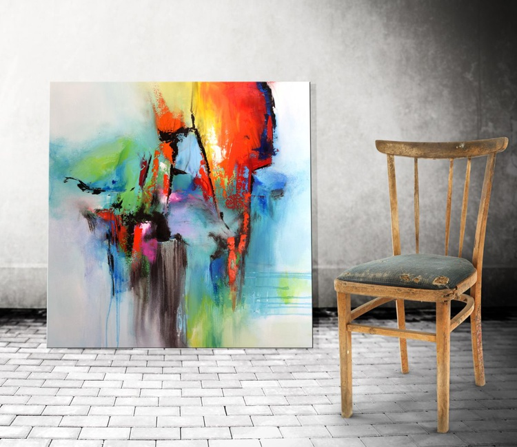 """""""Between Two Worlds"""" Abstract painting, 36x36 abstract contemporary painting green blue red orange - Image 0"""