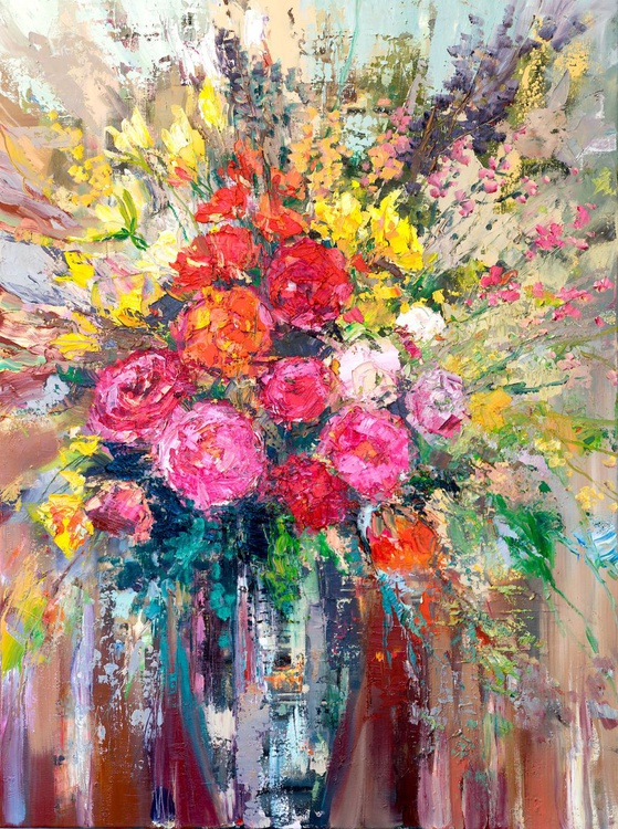 'Roses and tulips bouquet' - Image 0