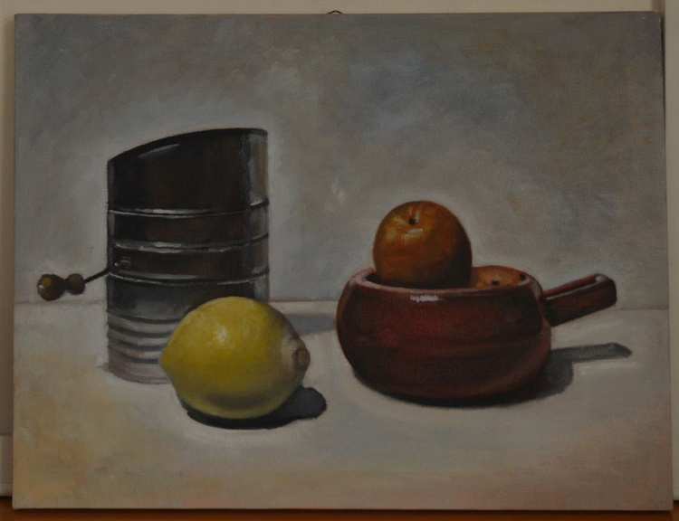 peaches and lemon still-life oil painting by Paola Ali' - Image 0