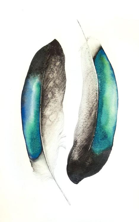 Ducks feathers ,birds, animals, wildlife watercolour painting - Image 0