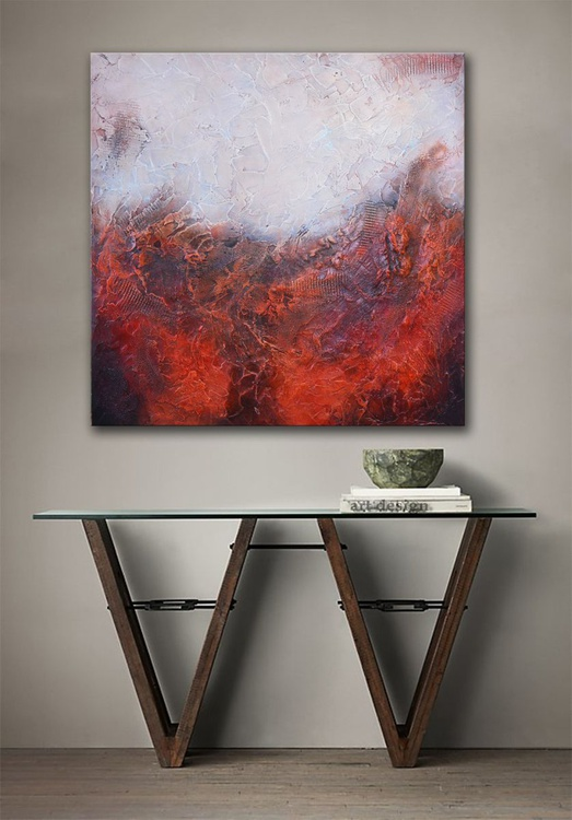 Ancient Structures - Original Abstract Red Painting - Image 0