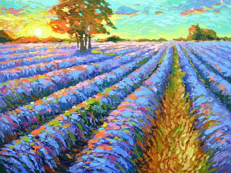 "Dawn and lavender -  Painting with palette knife by Dmitry Spiros, size 32""x24"" (80cmx60 cm) - Image 0"