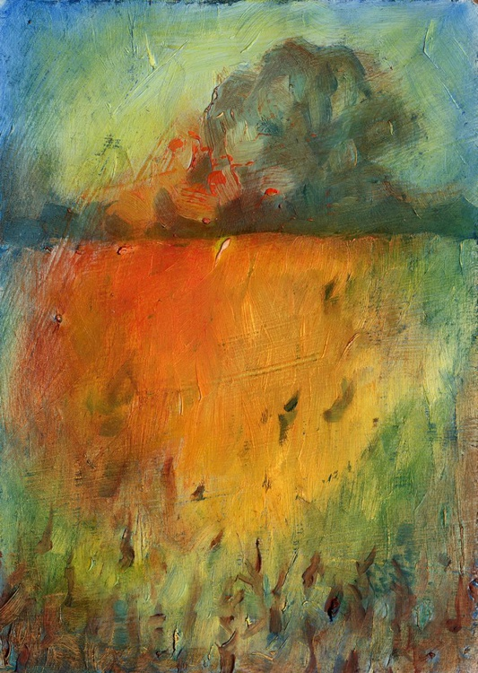Small Painting. Hot Harvest Landscape. - Image 0
