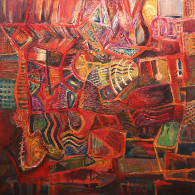 The Red Garden - Large Abstract Painting - Image 0