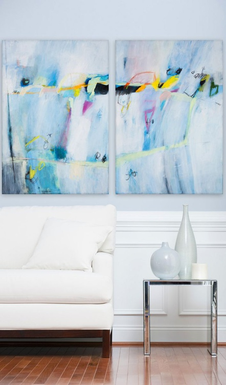 An Imaginary Lake (140x100 cm,  two panels each 70x100 cm, Acrylic Abstract) - Image 0