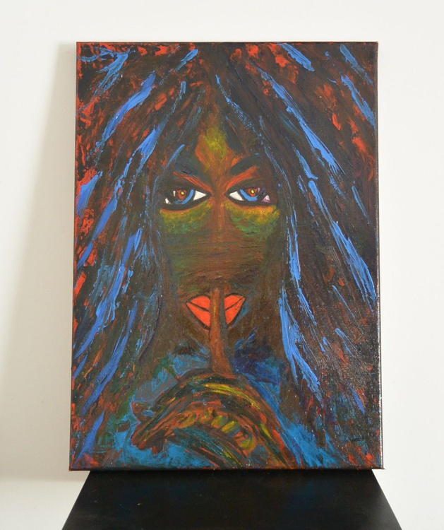 18x13inches(45x33cm)  Original Contemporary Art, Painting ,Abstract art,nude, The Secret by Veronica Vilsan - Image 0