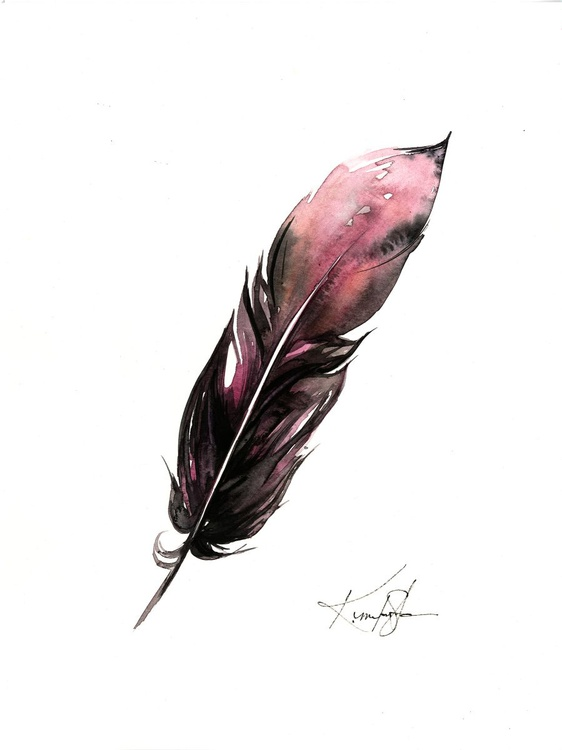 Watercolor Feather 1 - Abstract Feather Watercolor Painting - Image 0
