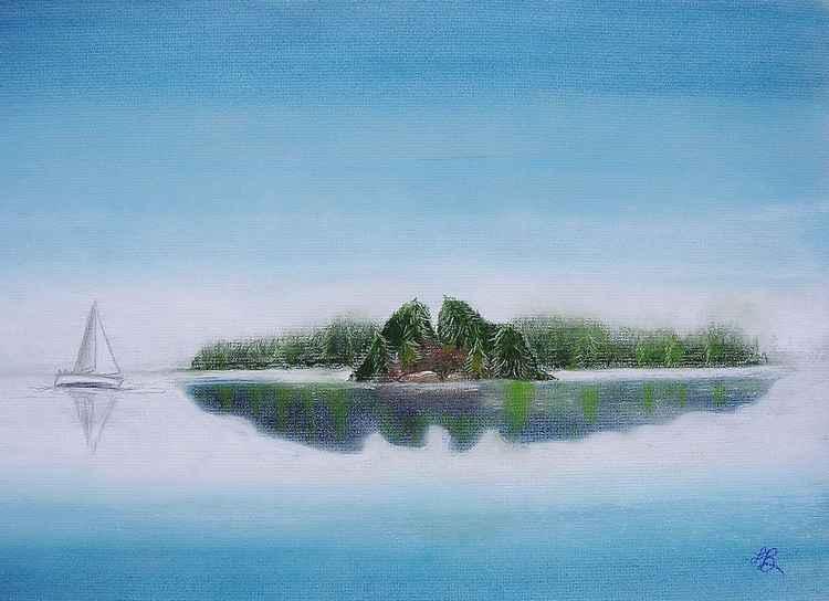 Island in Morning Fog