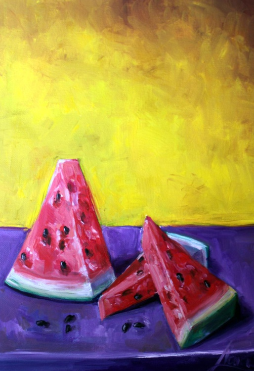 """Original oil painting for kitchen, still life """"Watermelon"""" - Image 0"""