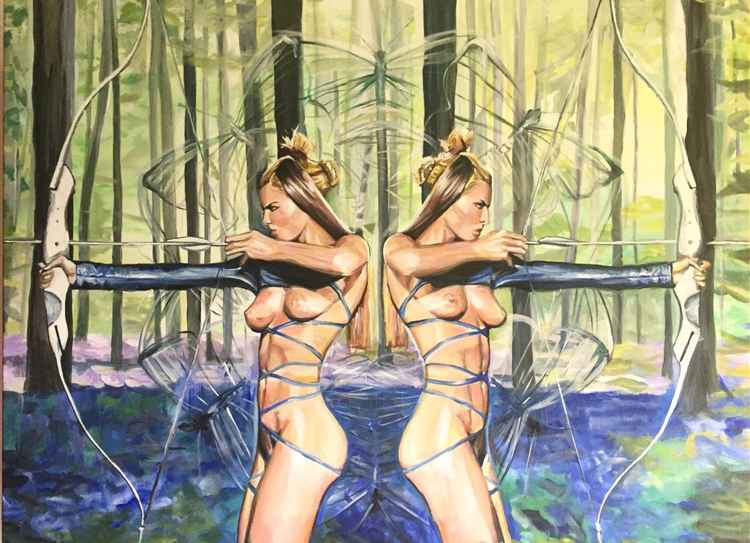 Hunters girls in a magic forest -