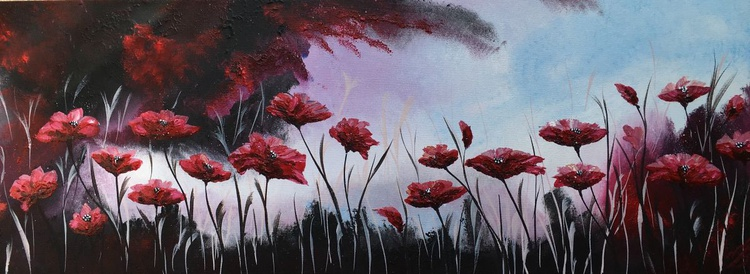 Red poppies under a blue sky - Image 0
