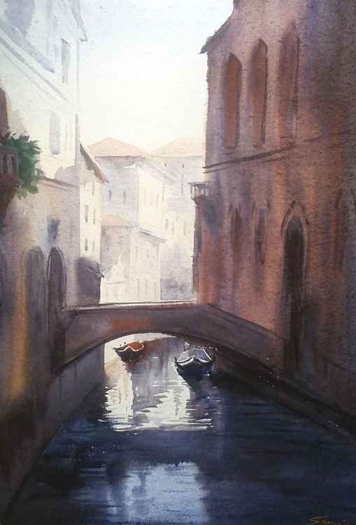 Winter Morning Venice Canals - Watercolor Painting -