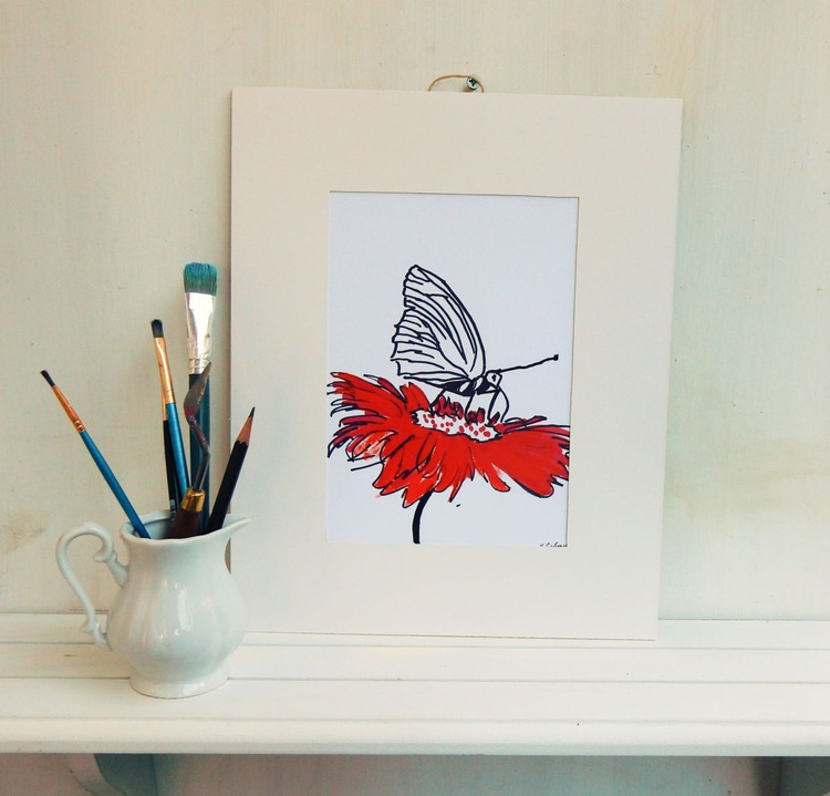 Set of 3 drawings.Tiger, Bee on a flower,Butterfly and Flower. - Image 0