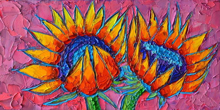 SUNFLOWERS LOVE - VIBRANT COLOURFUL FLORAL ART - palette knife oil painting - Image 0