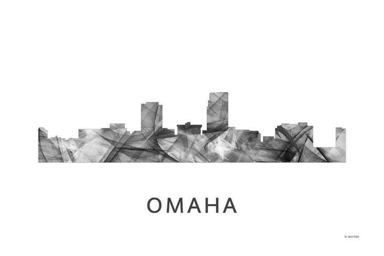 Omaha Nebraska Skyline WB BW -