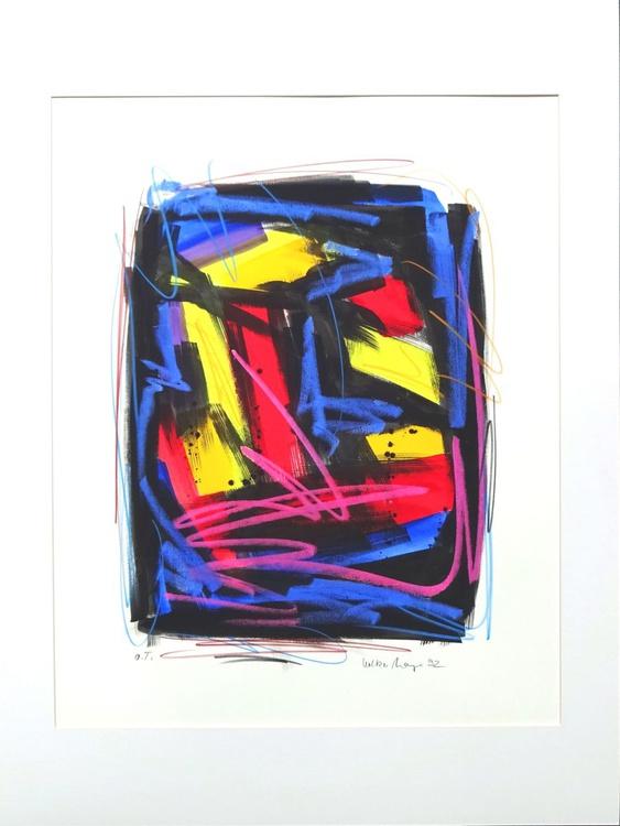 ohne Titel - abstrakte Malerei, Gouache und Ölkreide 56 x 75 cm - Image 0