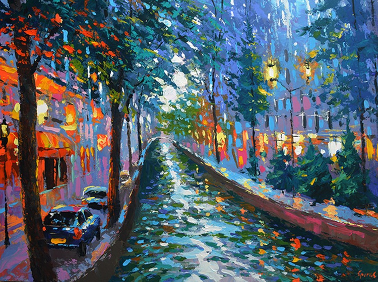 Canal in the evening. 60cm x 80cm, 24 x 32 in. oil, acr, canvas, 2016 - Image 0