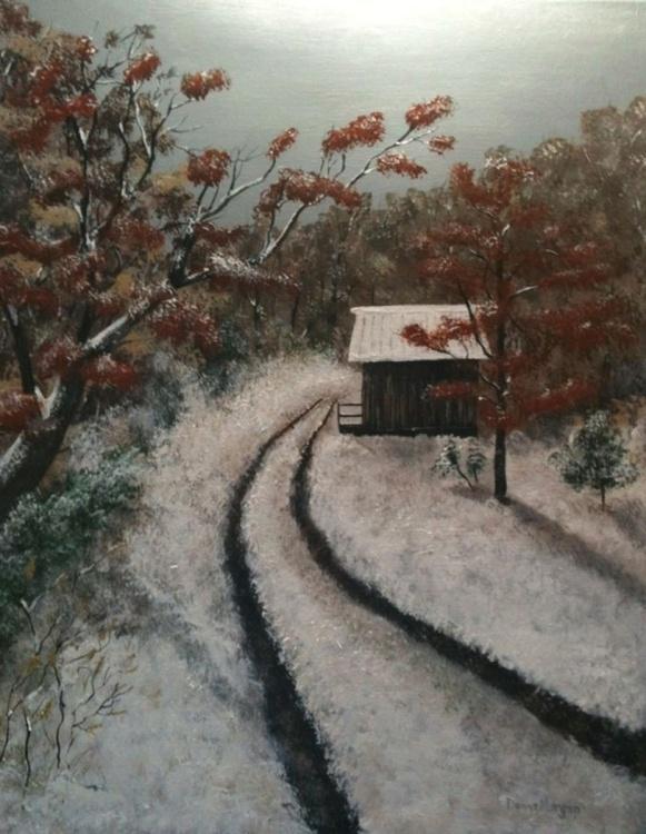Barn in an Autumn Snow - Image 0