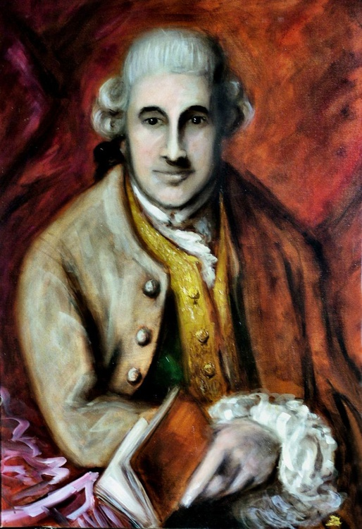Portrait of a Man (inspired by Gainsborough) 30x20 inch oil on canvas - Image 0