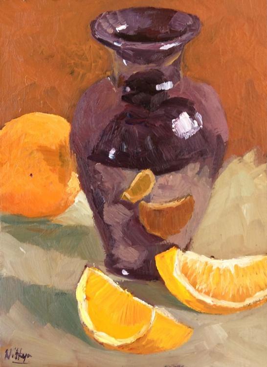 Orange slices and Vase - Original Small Still Life in Oils - Image 0