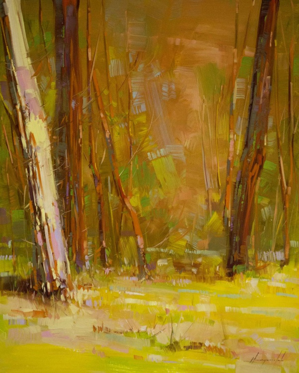 Birches Grove Handmade oil painting One of a kind - Image 0