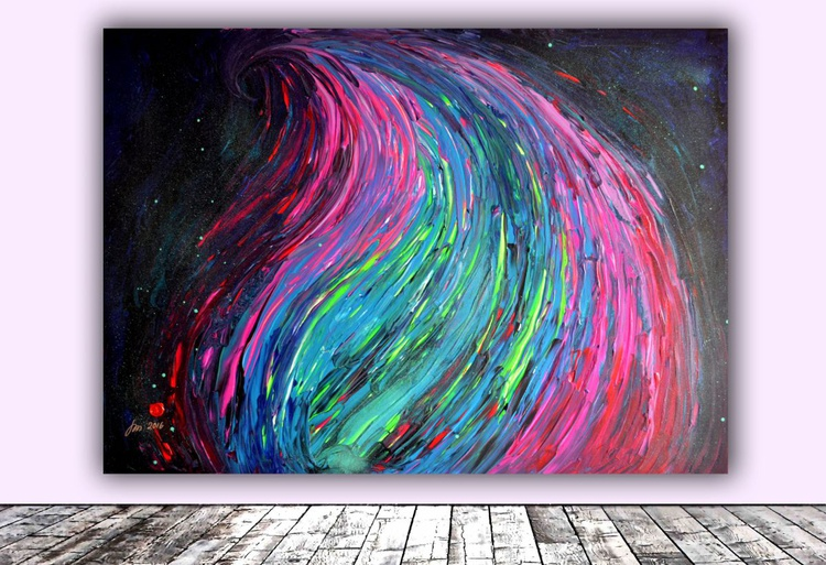 Dark Night Blue Fire - XXL Big Painting, FREE SHIPPING - Large Painting - Ready to Hang, Hotel and Restaurant Wall Decoration - Image 0