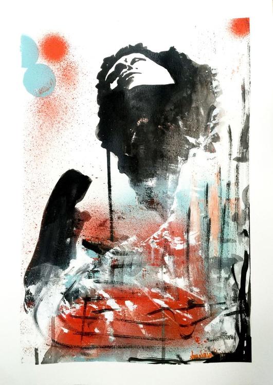 """Graffiti Goddess"" - original ink drawing with spray paint - Image 0"