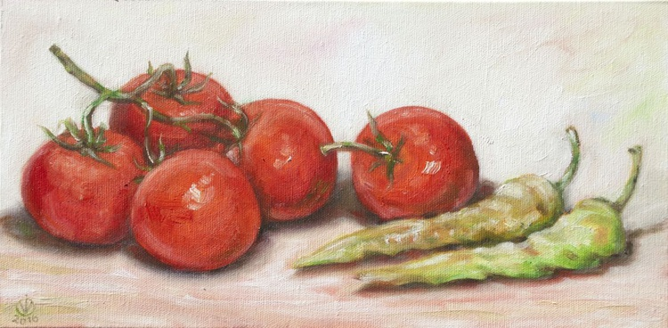 Tomatoes & Peppers (20x40cm) original oil painting study from life still life impressionistic ready to hang canvas gift kitchen decor - Image 0