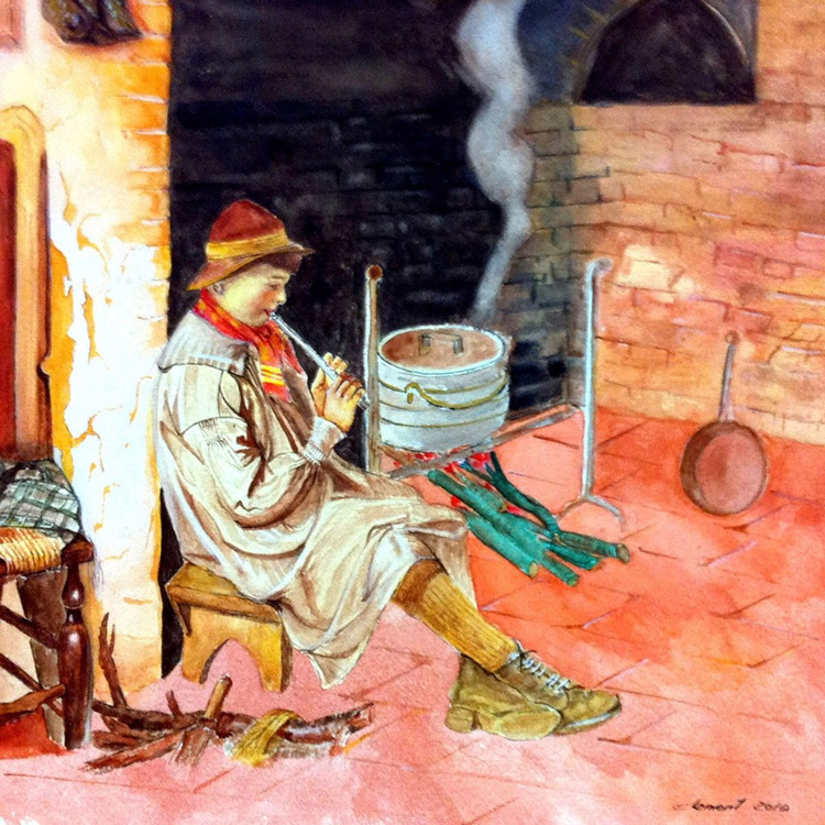 A young Boy Blowing Pipe in the Kitchen - Image 0
