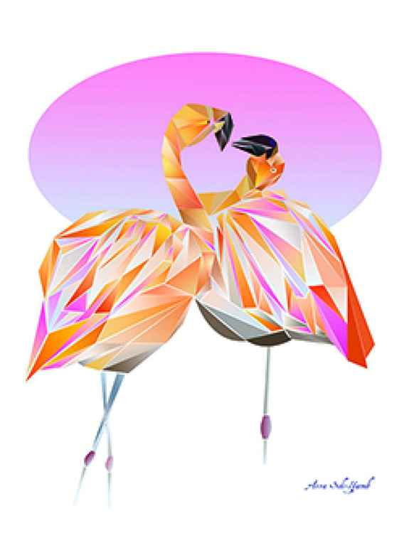 Flamingos in love -