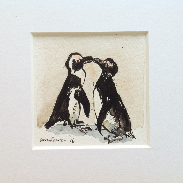 'Penguins in love #02' - miniature penguin Art - Image 0